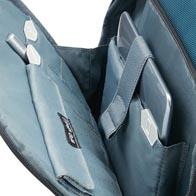 Organización interna y precisa con iconos, incluyendo un bolsillo con protección RFID en el bolsillo frontal.